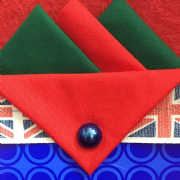 Green and Red Hankie With Red Flap and Pin